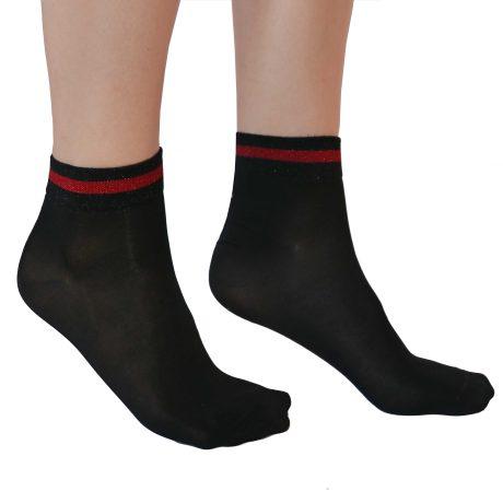 Lady High Socks TRIPPLE LINE GLITTER RED