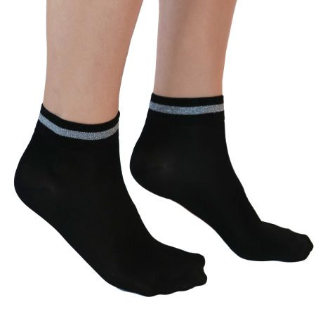 Lady High Socks TRIPPLE LINE GLITTER SILVER