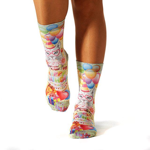 Lady Socks BIRTHDAY KITTY